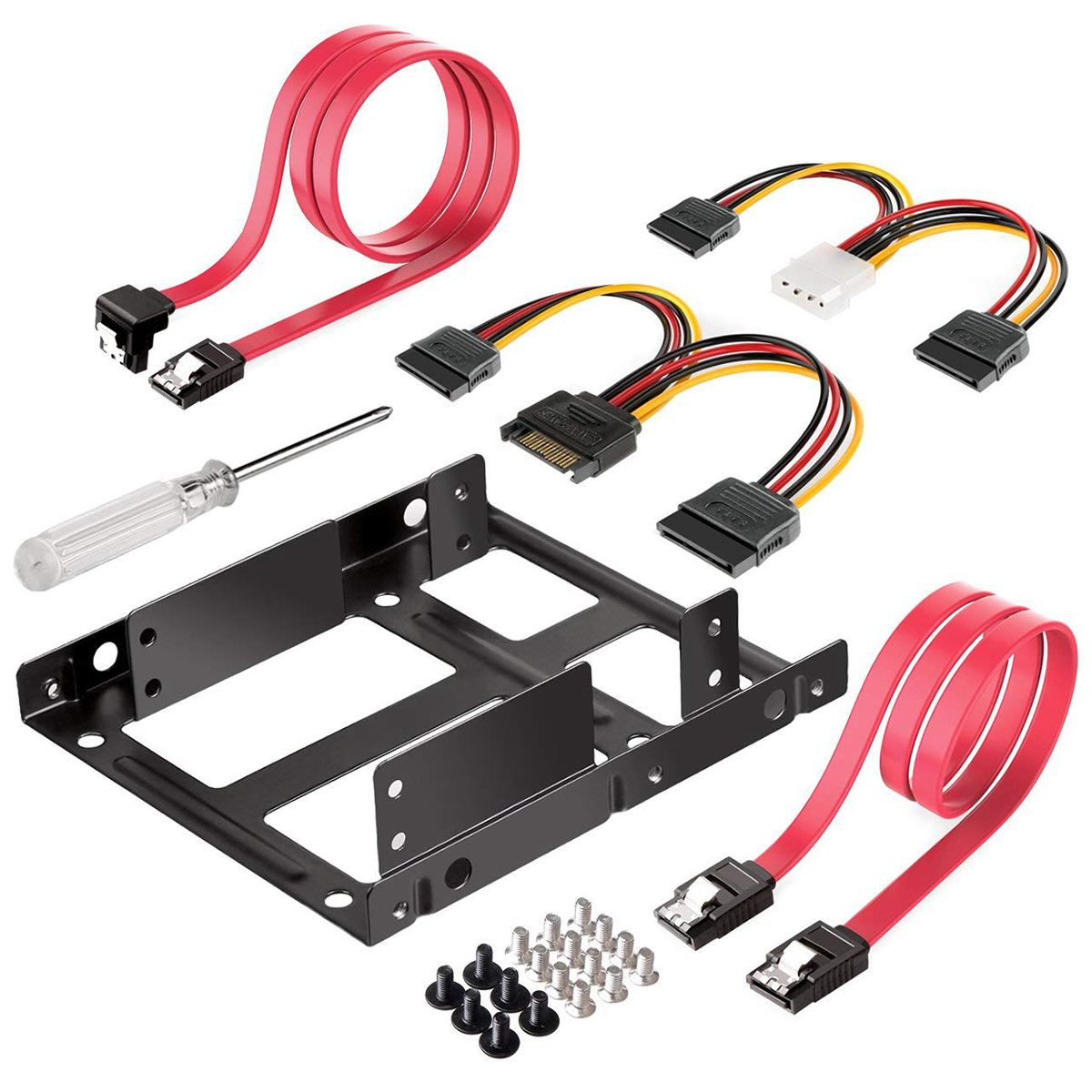 2X 2.5 inch SSD to 3.5 inch Internal Hard Disk Drive Mounting Kit Bracket SATA Data Cables and Power Cables Included-Hot