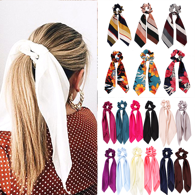 New Design Floral Print Women Hair Scarf Elastic Bohemian Hairband  Scrunchie Bow Hair Rubber Ropes Girls Hair Ties Accessories