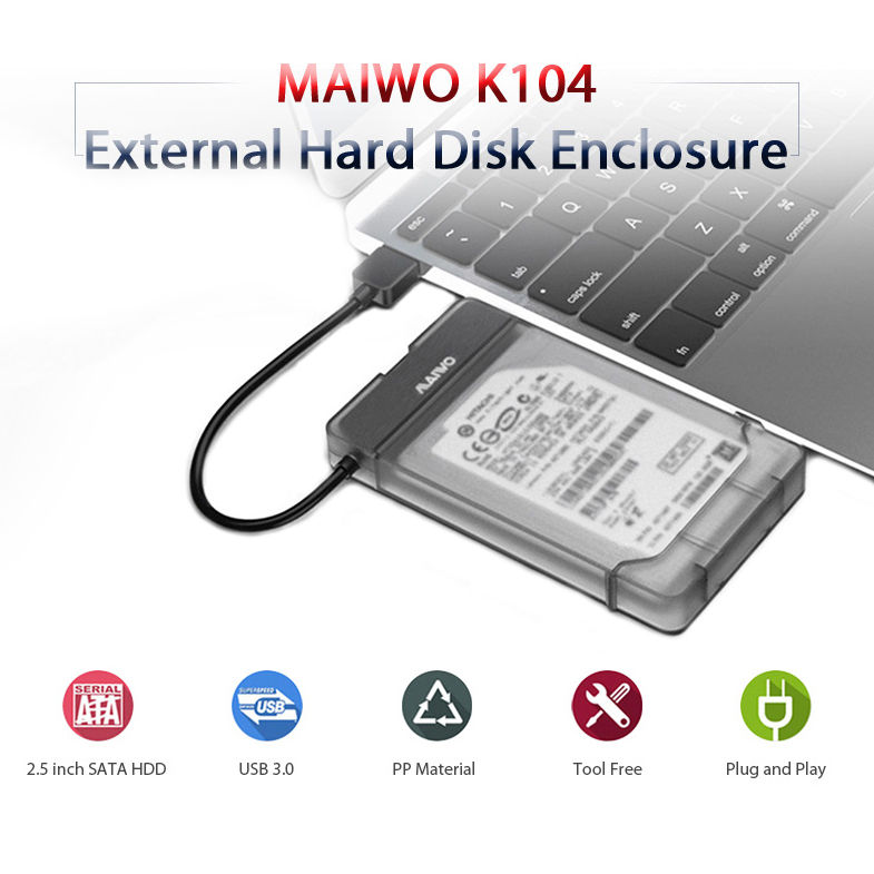 Maiwo K104 <font><b>Usb</b></font> <font><b>3.0</b></font> To Sata <font><b>3.0</b></font> <font><b>Hdd</b></font> Hard Drive Enclosure Support <font><b>2.5</b></font> Inch Ssd Free Tools image