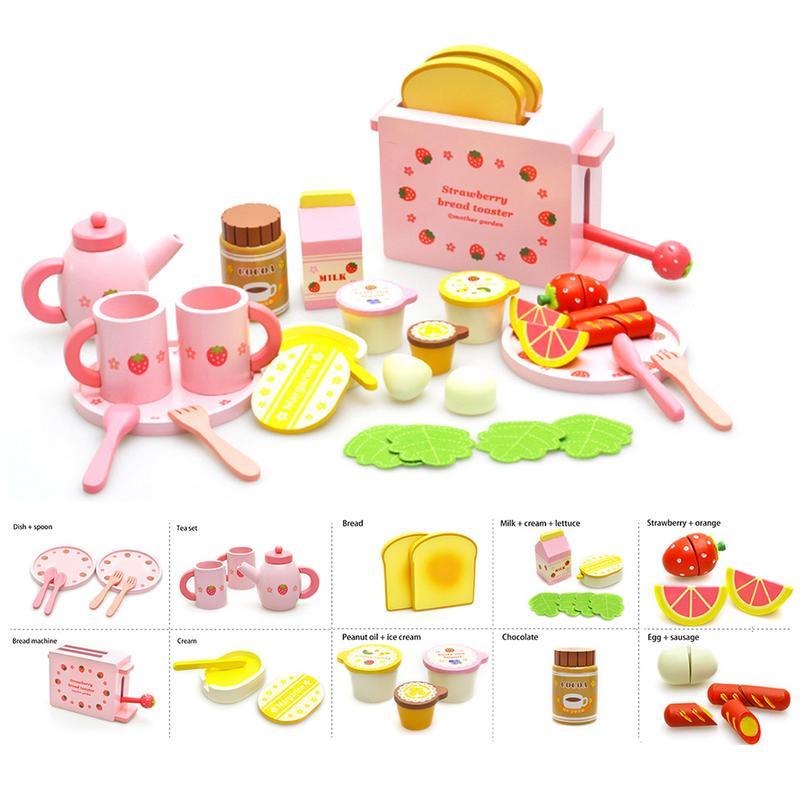 Ensemble complet en bois Machine à pain cuisine jouets avec des plats mignons cuillères ensemble de thé modèle de Fruits de lait pour les nourrissons et les enfants
