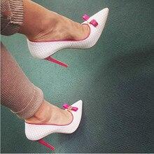 цена на White Fuchsia Bow High Heels Women Pumps Spring Autumn 2019 Pointed Toe Stilettos Plaid Office Shoes Woman Shallow Slip-On Pumps