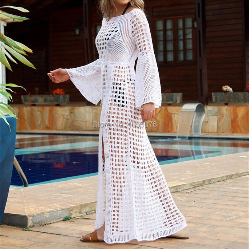 2019 Sexy White Crochet Bikini Covers-Up Beach Coat Swimsuit Cover-Ups Lace Beachwear Knitted Bikini Cover-up Long Beach Dress