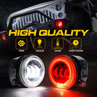 30W Round LED Passing Fog Lights 2PCS 4 Inch Turn Signal Light LED Fog Projector Car Light with RED Halo Angel Ring Wrangler