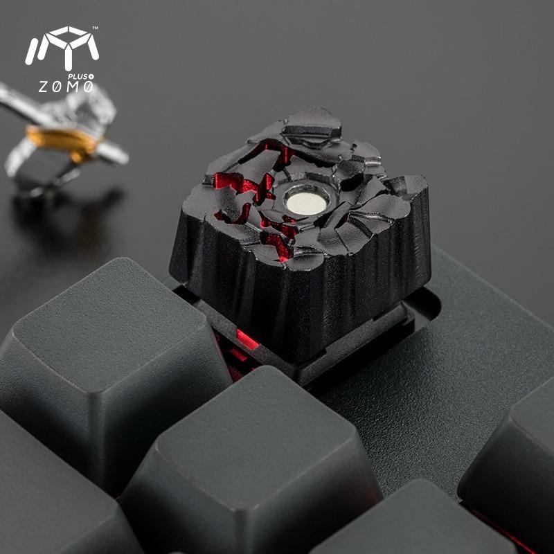 1 pc ZOMO pierre marteau aimant séparation personnalité originale bouchon de clé plein métal translucide mécanique clavier Keycap - 4