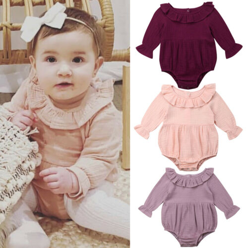 ce929f69a Cotton Newborn Romper Toddler Baby Girl Clothes Long Sleeve Romper ...