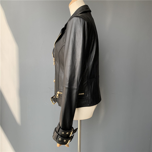 Image 5 - Prawdziwa skórzana kurtka kobiety moda klasyczna kurtka z zamkiem płaszcz z paskiem czarne kobiety panie prawdziwej skóry kurtki kobieta