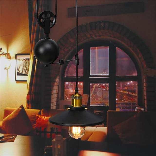 Smuxi Modern Pendant Lamp Telescopic Vintage Loft Bedroom Pendant Lights E27 Metal