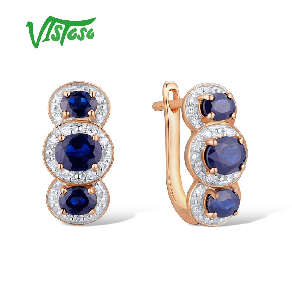 VISTOSO Gold Earrings For Women 14K 585 Rose Gold Sparkling Blue Sapphire Diamond Wedding Band Engagement