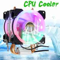 2 Heatpipes enfriador de CPU RGB LED 4pin 2 ventilador de refrigeración 90mm enfriamiento por ventilador de CPU del radiador para Intel 775/1150/1151/1155/1156/1366 para AMD