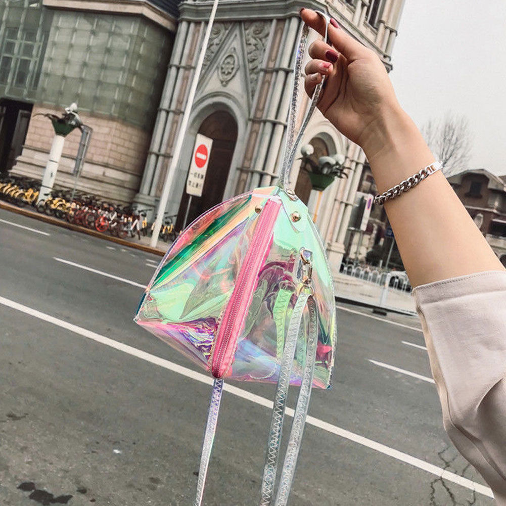 2019 Hot Women Bag Women PVC Clear Transparent Shoulder Bag Tote Jelly Candy Triangle