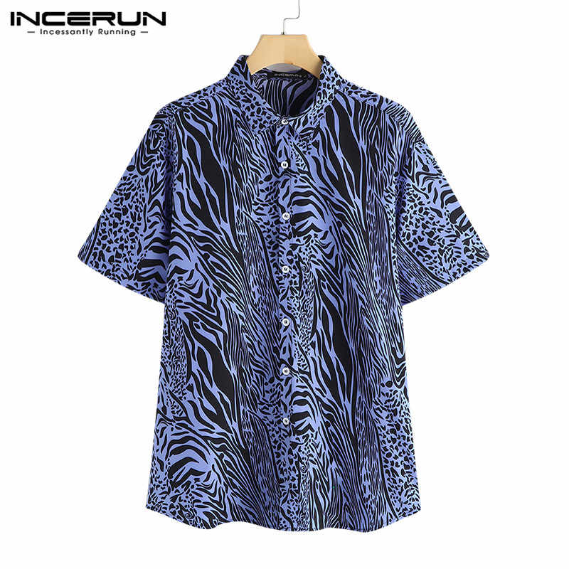 2019 Sexy mode hommes chemises robe à manches courtes revers col léopard imprimé Tee hauts hommes Camisas Chemise Big 5XL hommes vêtements