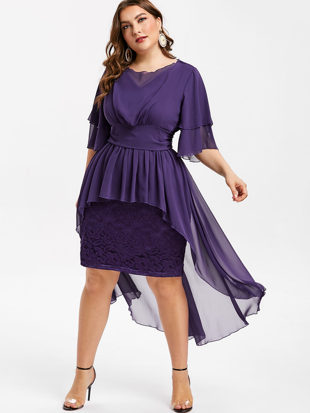 US $35.53 21% OFF|Wipalo Women Lace Panel Plus Size 5XL High Low Dress  Layered Sleeve Mid Calf Bodycon Dress Solid Elegant Club Party Vestidos-in  ...