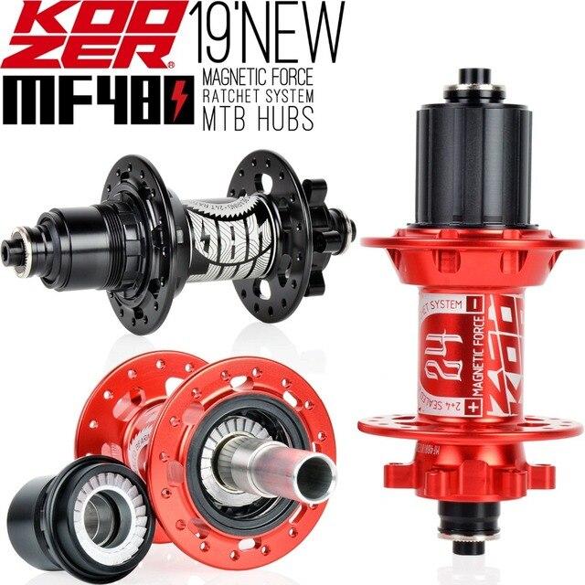 2019 KOOZER MF480 Front Rear Hub Set 2/4 Bearings 24T Ratchet 32 Holes Quick Release Thru Axle Mountain Bike hubs For 8 9 10 11S