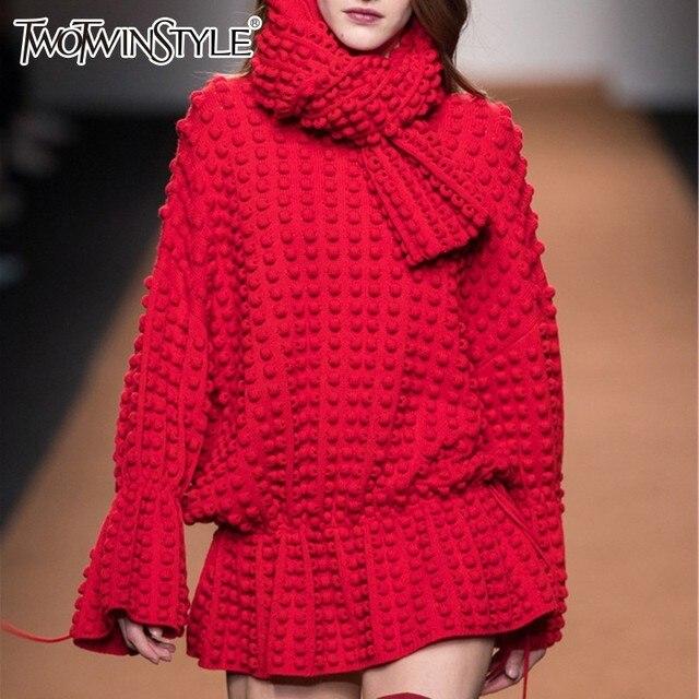 TWOTWINSTYLE סריגת סוודר חולצות נקבה שרוך התלקחות שרוול ארוך לפרוע סוודר סרוג בגדי נשים 2019 אביב אופנה