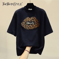 TWOTWINSTYLE Spring Women's T shirts O Neck Short Sleeve Patchwork Leopard Embroidery Tops Female 2019 Fashion Student Style
