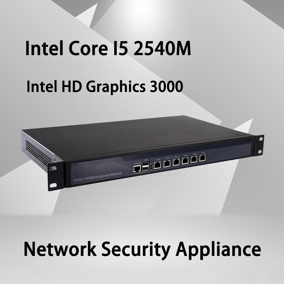 Firewall Mikrotik Pfsense VPN Network Security Appliance Router PC I5 2540M/I5 2520M Ramdon Ship,[HUNSN SA12R] With 6LAN COM VGA