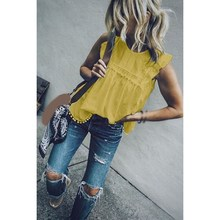 2019 Summer Women Patchwork Lace Tops Sleeveless Hollow Blouses O-Neck Casual Butterfly Sleeve Tassel Shirt