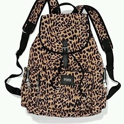 105178f67ec2 Victoria's Secret PINK Backpack Leopard Cheetah Canvas School Handbag Book  Bag Tote