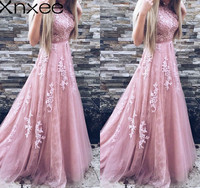Xnxee Women Evening Party Dress 2018 Sleeveless O neck Sexy Long Dress Women Elegant Lace Dress Summer Maxi Dress S 2XL