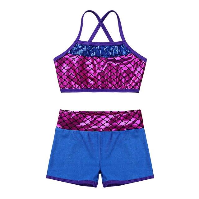 8e8d72721 2019 Sequins Mermaid Girls Tankini Swimsuit Bikini Toddler Swimwear Bathing  Suit Kids Beachwear Ballet Dance Gym Workout Outfits