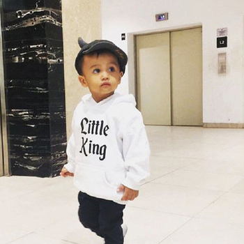 Long Sleeve Letter Print Hoodie Top for Todder Boy Little King Autumn Pullover Hooded Sweatshirt Top Clothes Hoodies & Sweatshirts