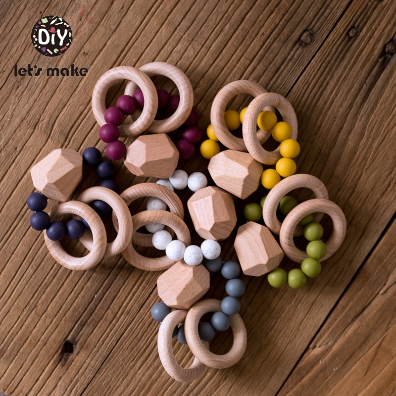 Let's Make 1pc Baby Toys Silicone Beads DIY Baby Rattles Bracelets Teething Wooden Ring Toys For Kids Baby Teethers For Stroller