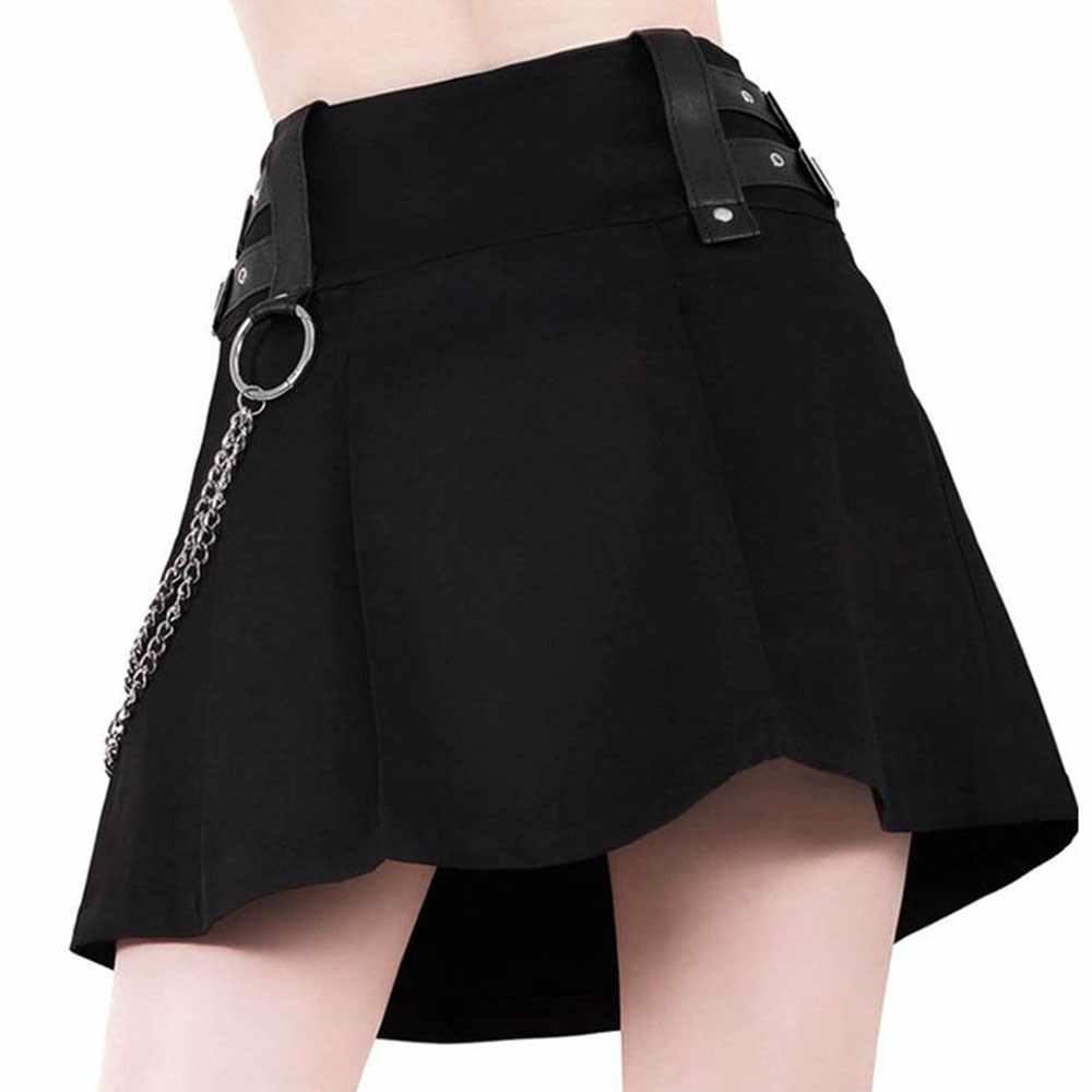 8c271925e Falda gótica plisada moda cremallera cadena decoración Punk Rock Streetwear  Cool Slim otoño 2018 mujer negro Mini faldas