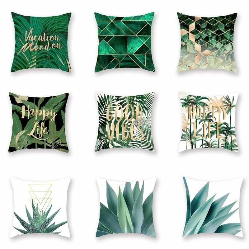 Cushion Cover Fashion Nordic Green Geometric Plant Pillow Case For Car Chair Sofa Bed Seat Home Decoration Cushion Protector