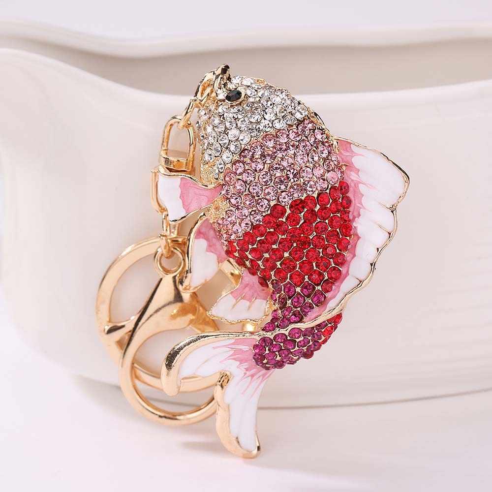 Кристалл брелок в форме рыбы со стразами Золотая рыбка Сумка Сумочка с застежкой Подвеска для дамской сумочки для автомобиля
