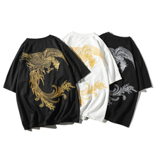 T-shirt 2019 summer new trend male hip hop fashion original Phoenix embroidery casual loose short-sleeved tops Free shipping