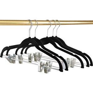 Image 4 - 8 peças de veludo roupas cabides premium antiderrapante cabides com clipes para vestido jaquetas casacos roupas calças