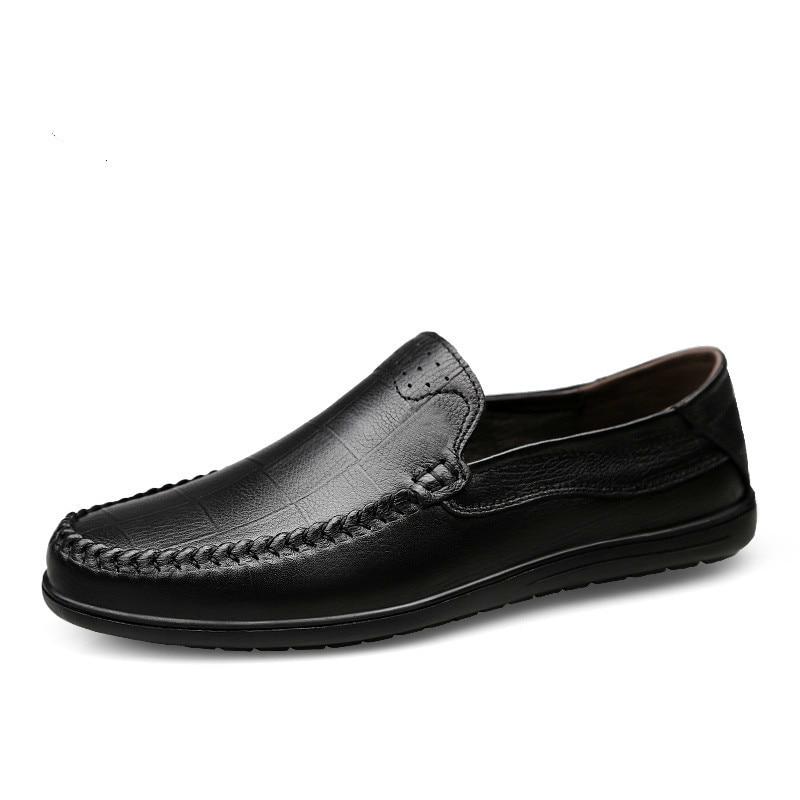 Verão Deslizamento Black Outono Brown Barco Mens Couro De Masculino Respirável Sapato brown 2019 dark Casual Genuíno Sapatos Ons Mocassins nxYRCYfZ