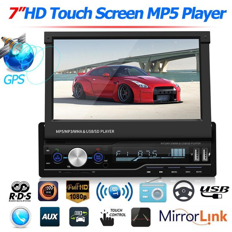 Bluetooth 2Din Car Stereo Mirror for Nav Audio Radio MP5 Player FM//SD//TF USB AUX