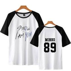 LUCKYFRIDAYF 2018 Fashion Stray Kids I Am You Summer Raglan Tshirts Women T-Shirts High Quality Short Sleeve Casual Tops Clothes 5