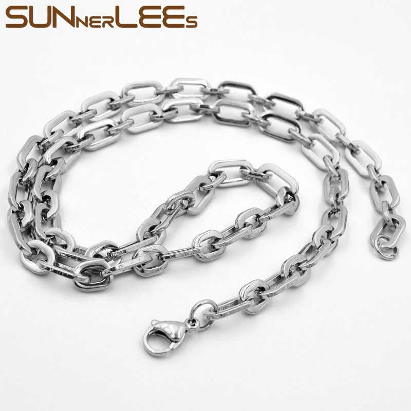 SUNNERLEES biżuteria naszyjnik ze stali nierdzewnej 316L 7mm geometryczny Link Chain srebrny złoty mężczyzna kobiet prezent SC160 N