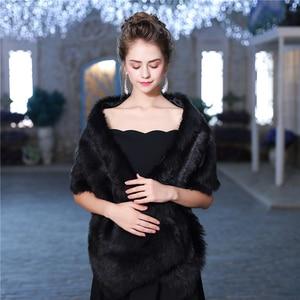 Image 5 - Новая теплая шаль из искусственного меха, зимняя накидка для свадьбы, аксессуары для невесты, модная женская меховая шаль, куртка ручной работы