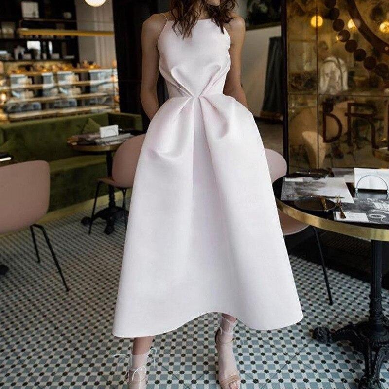 Women Sexy Party White Dress Swing Pleated Waist Sleeveless Spaghetti Strap Fashion Evening Celebrated Elegant Dresses 2020 Robe