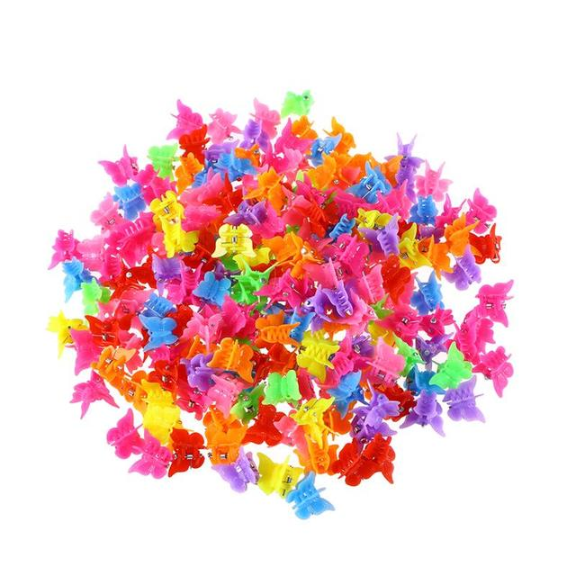 100 piezas pinzas de pelo de la mariposa de garra broches Color mezclado Mini mandíbula Clip horquilla accesorios para el cabello para las mujeres y las niñas
