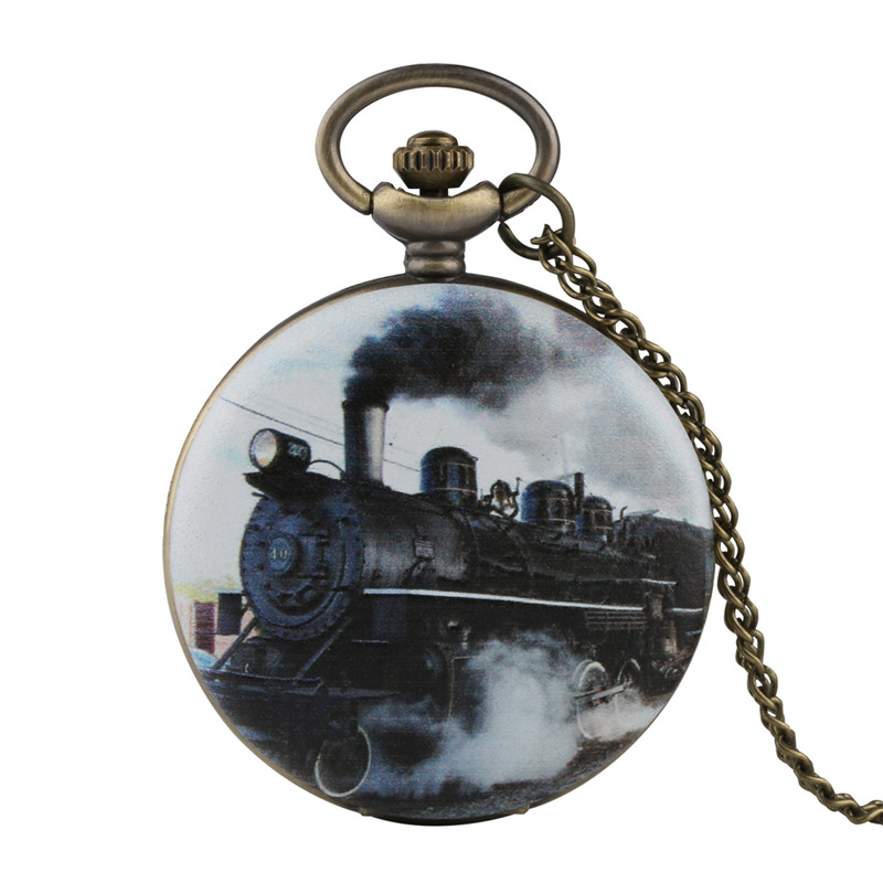 Fobs Pocket Watch For Men Retro Train Pattern Bronze Color Pocket Watches Quartz Pocket Watch Analog Pendant With Necklace