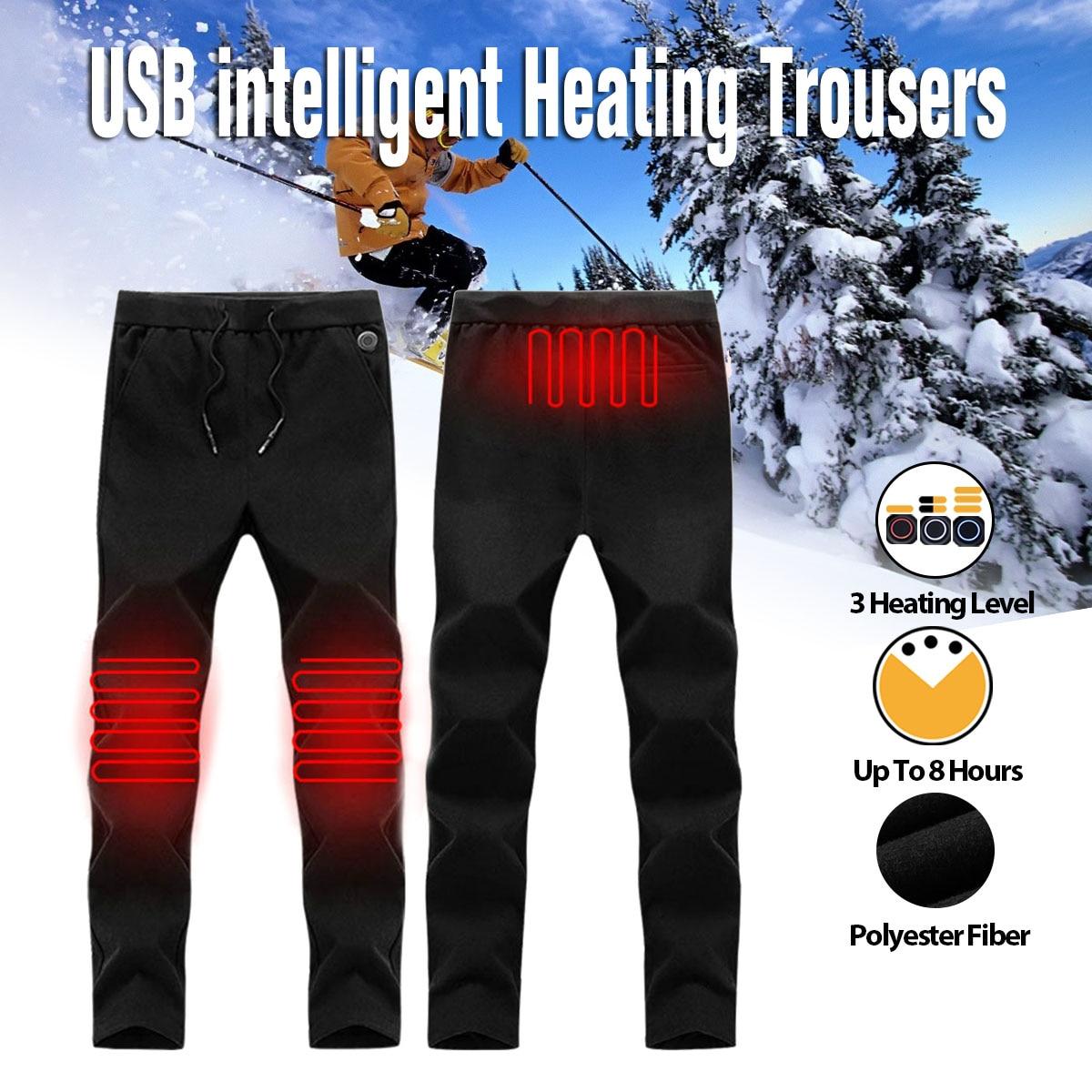 Nouveaux hommes femmes pantalons de chauffage en plein air pantalons taille haute Leggings pantalons Slim épaissi USB pantalons de charge pour la randonnée