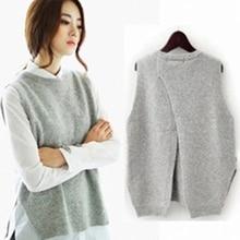 2019 Autumn knitted sleeveless sweater vests Female sleeveless knit sweaters Round neck short waistcoat Vest mujer