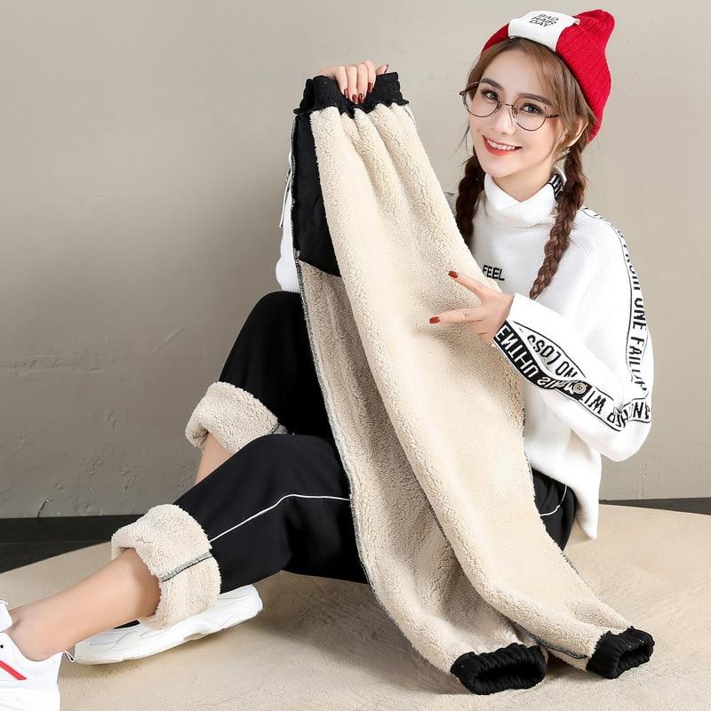#0821 Winter Track Pants Women Thick Warm Joggers Women Fashion Student Casual Trousers Side Stripe Sweatpants Female Joggers