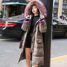 7523a3a42e32 Casual Long Winter Jacket Coat Women Fashion Lattice Hooded Fur Collar 90%  White Duck Down Jacket Slim Warm Feather Overcoat 205