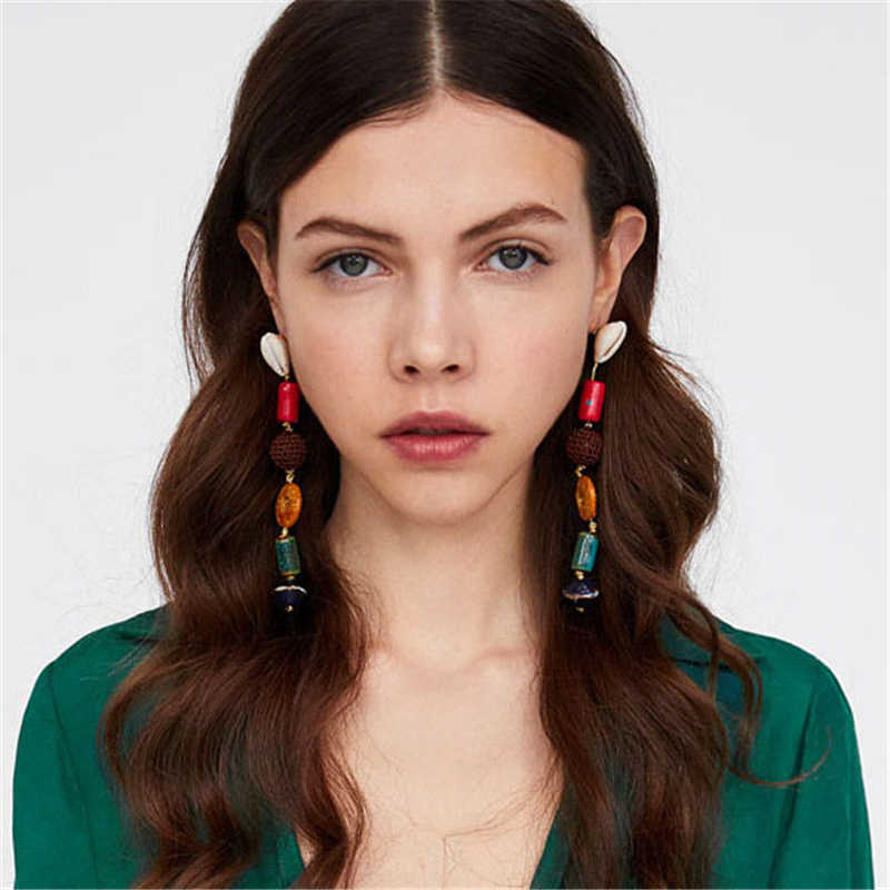 AYAYOO Long Drop Earring Female 2019 Za Fashion Earrings For Women Statement Girls Earrings Hanging Wedding Party Christmas Gift