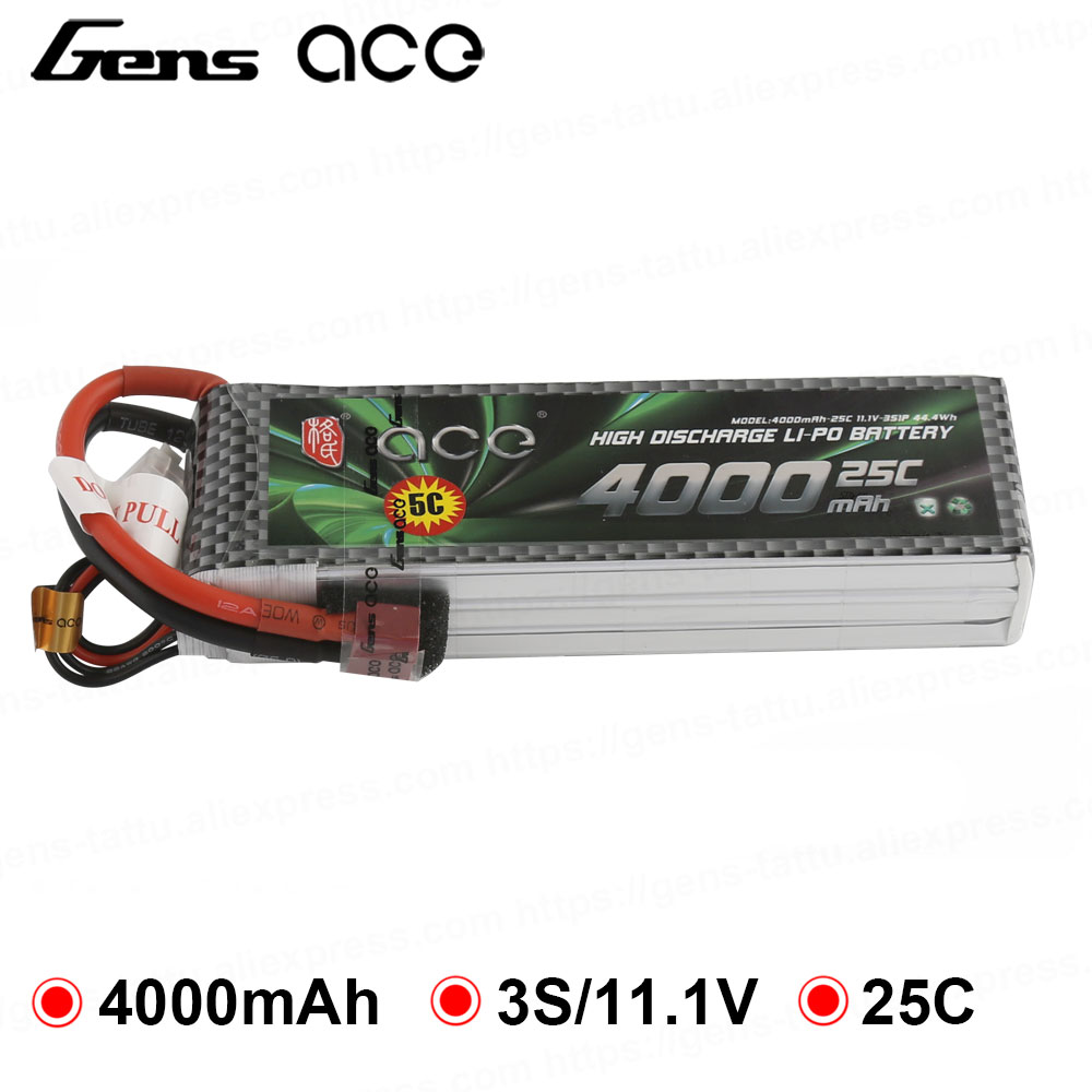 Gens ace <font><b>Lipo</b></font> <font><b>3S</b></font> Battery 11.1V 4000mAh <font><b>Lipo</b></font> Battery Pack 25C T Connector for Graupner RC Helicopter Car FPV Drone Boat image