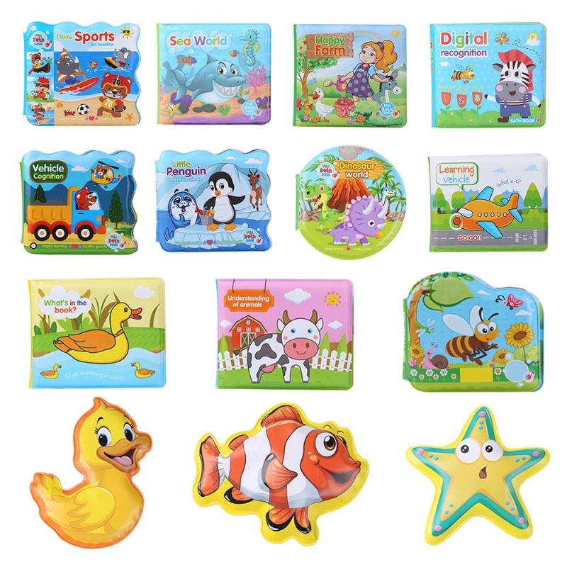 EVA BB Sound Baby Bath Book Colorful Cartoon Tear Not Bad Waterproof Bath Toy Infant Intelligence Educational Floating Toys