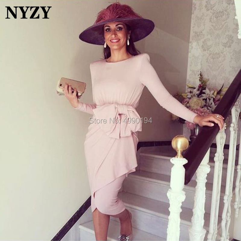 NYZY M132 Elegant Lycra Formal Dress For Wedding Party Guest Wear Tea Length Long Sleeve Mother Of The Bride Groom Dresses Pink