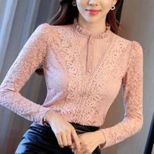 Женские бархатные плотные кружевные блузки для женщин нового размера плюс 3XL тонкая рубашка Топы с длинными рукавами