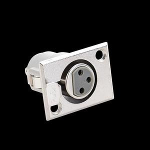Image 2 - LEORY 1Pcs Metal 3 Pin XLR Female Jack Socket Panel Mount Connector XLR Converter Adapter Jack Socket Push type