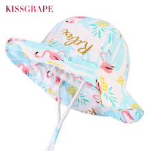 2019 New Summer Baby Girls Cotton Panama Hats for Kids Outdoor Bucket with Flamingo Printed Childrens Hiking Sun Caps 1-5Y